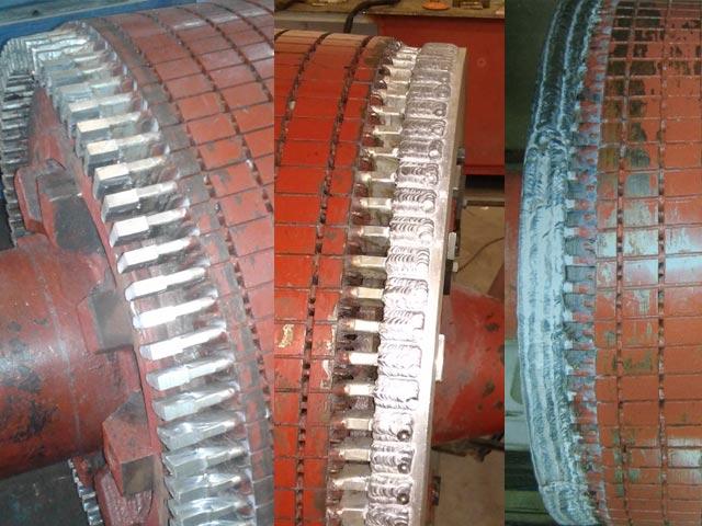 Proceso de cambio de anillo de cortocircuito de aluminio